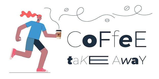Café para viagem conceito de design de banner para loja café restaurante ou bar mulher com americano ou