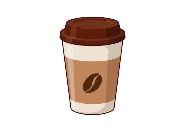 Café para viagem copo de papel 3d descartável com grãos de café. ilustração plana isolada em vetor eps