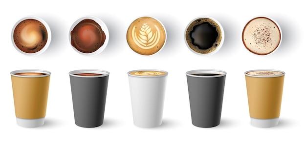 Café para viagem. copos de papel para cappuccino, vista superior e lateral. americano quente, expresso e café com leite em vetor de maquete de pacote para viagem de papelão definido. ilustração cappuccino quente, bebida com café