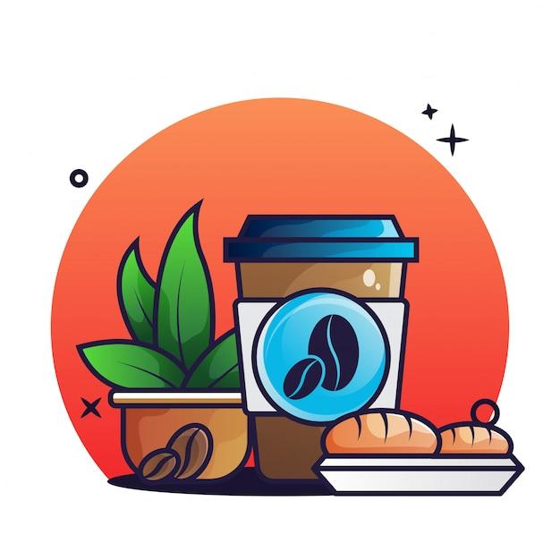Café para viagem e croisant
