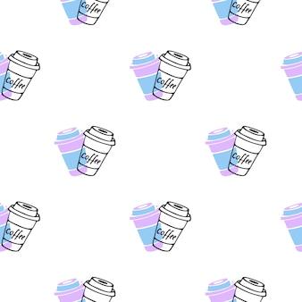 Café para viagem. padrão sem emenda de copo descartável em estilo doodle.