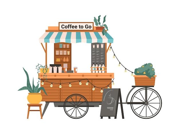Café para viagem para ir ao toldo da loja e à vitrine