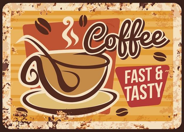 Café para viagem, placa de metal enferrujada de cafeteria