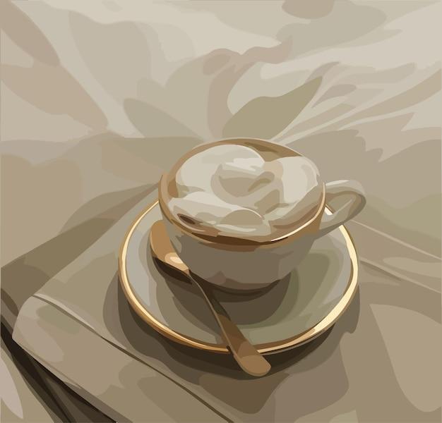 Café quente com leite quente em xícara e colher de cerâmica branca