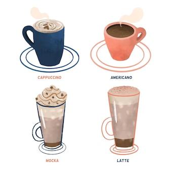 Café quente com vapor e café com gelo