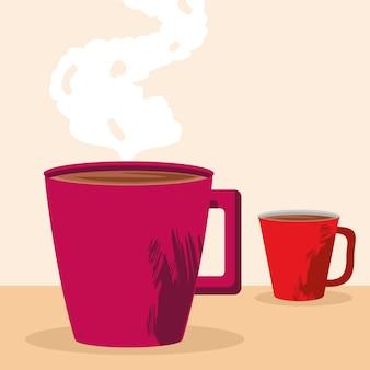 Café quente em canecas