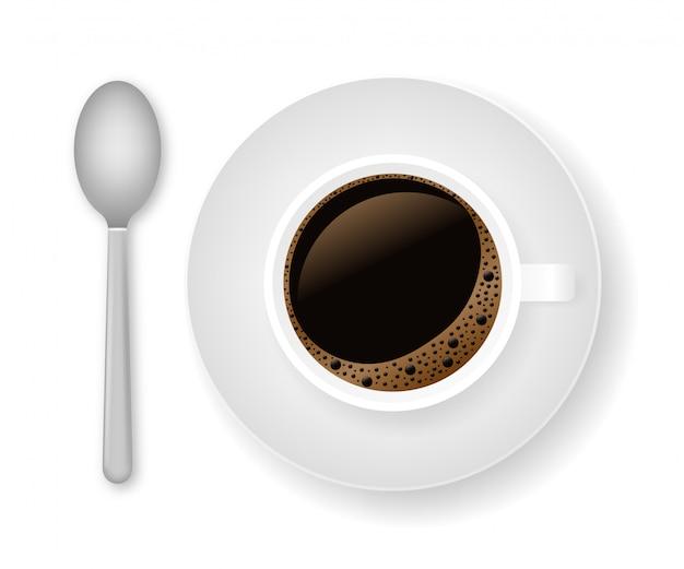 Café quente em uma xícara branca e pires. ilustração das ações.