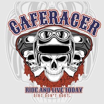 Cafe racer 3 caveiras vestindo capacetes