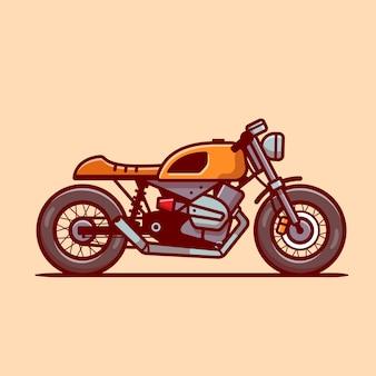 Cafe racer motorbike cartoon icon ilustração. conceito de ícone do veículo motocicleta isolado. estilo flat cartoon