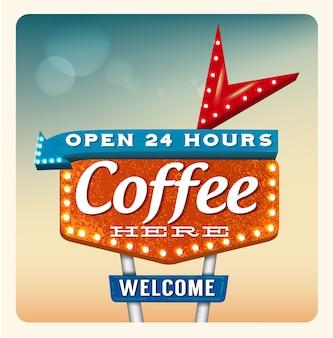 Café retro do sinal de néon