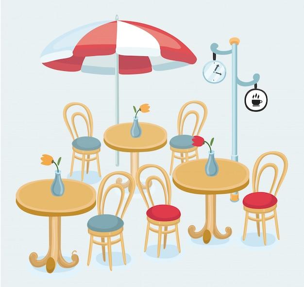 Café rua café cadeiras mesa ilustração
