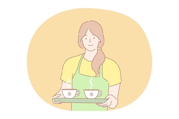 Café, serviço, conceito de publicidade.