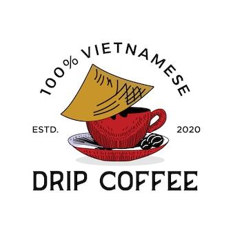 Café tradicional do logotipo vintage do vietnã