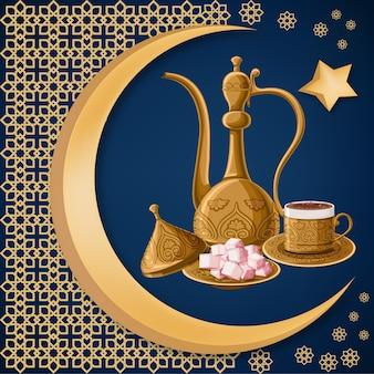 Café tradicional turco e delícia em pratos de cobre antigo