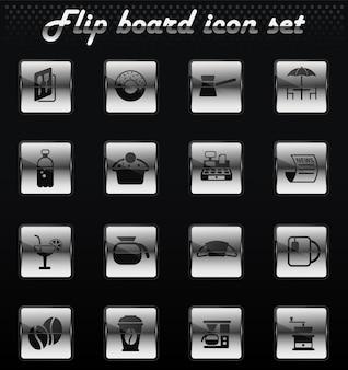 Cafe vector flip ícones mecânicos para design de interface de usuário