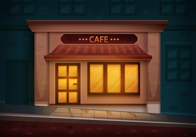 Café velho bonito na noite de trabalho de casa, ilustração