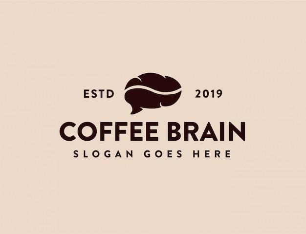 Café vintage e logotipo do cérebro