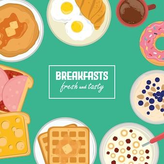 Cafés da manhã frescos e saborosos