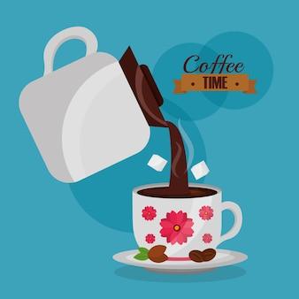 Cafeteira despeje a xícara de café e decoração de flores de açúcar