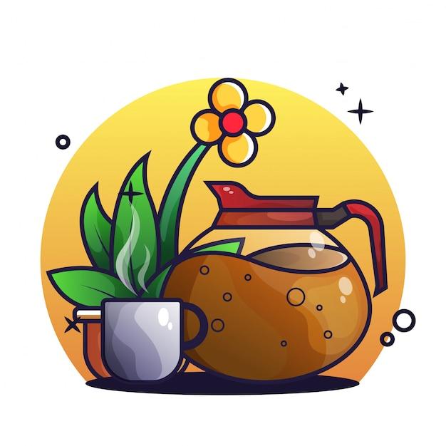 Cafeteira e xícara de café