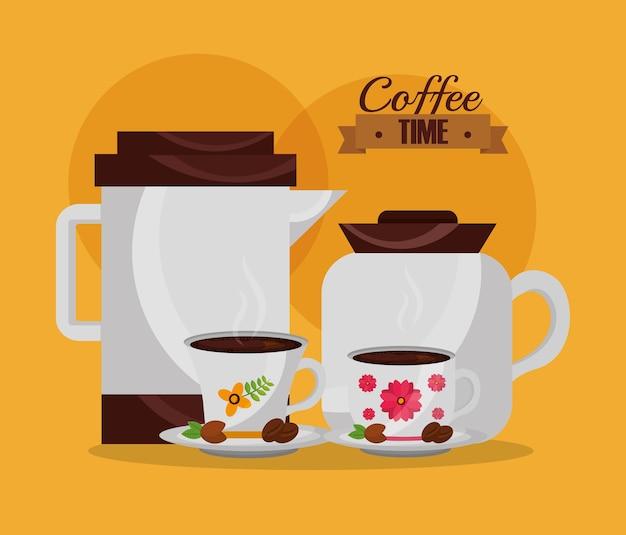 Cafeteiras e copos e sementes de cozinha floral