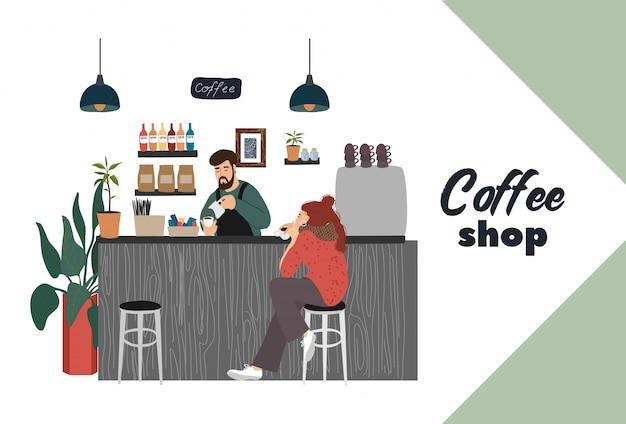 Cafeteria com visitante jovem senta-se em um bar balcão barista faz uma bebida quente