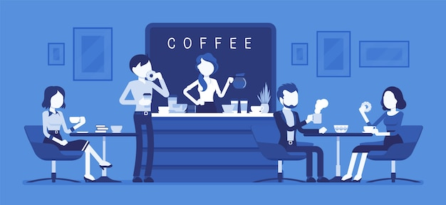 Cafeteria e pessoas relaxantes. interior moderno lugar para conhecer, beber e comer, conversar, descansar, aproveitar o tempo livre, garota barista faz café para o público. ilustração com personagens sem rosto