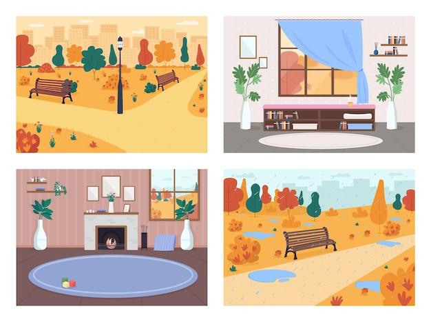 Cai no conjunto de cores planas da cidade. sala com lareira. parque público com chuva e poças. vida urbana 2d cartoon interior e paisagem com coleção de fundo de outono