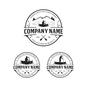 Caiaque e canoa, design de logotipo de aluguel de férias