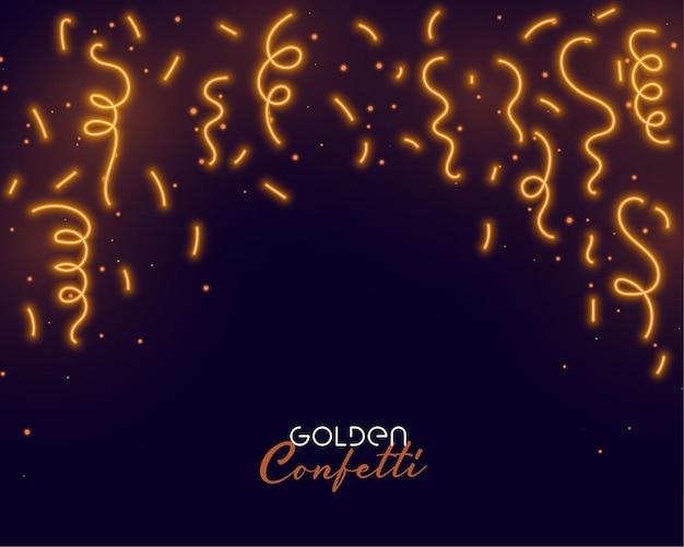 Caindo confete dourado com espaço de texto