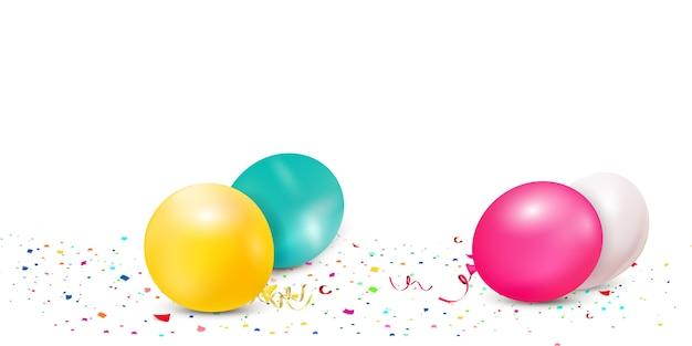 Caindo confetes coloridos brilhantes, fita, celebração de estrelas, serpentina, isolada no fundo branco. confetes voando no chão com balões. ano novo, aniversário, elemento de design do dia dos namorados