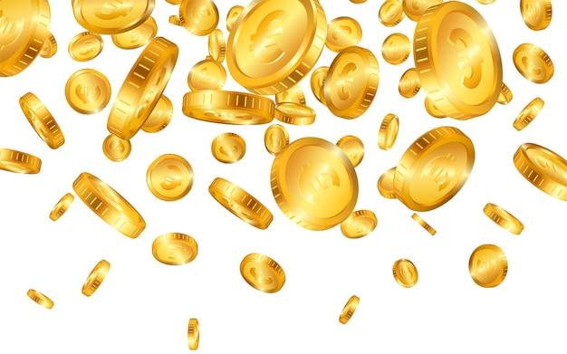 Caindo do topo muitas moedas de ouro do euro