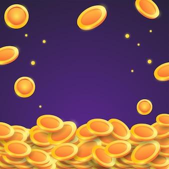 Caindo do topo um monte de moedas de ouro 3d.