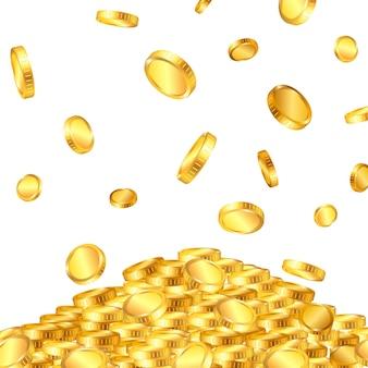 Caindo do topo um monte de moedas de ouro em dólares