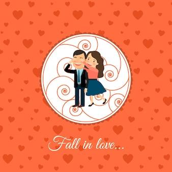 Cair no modelo de cartão de casal de amor
