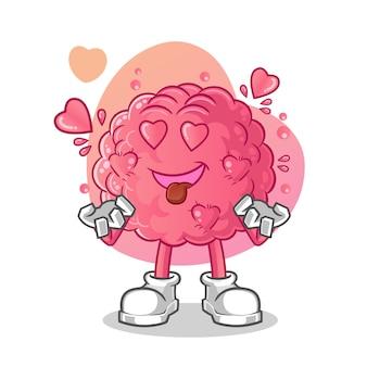 Cair no personagem de desenho animado do cérebro de amor.