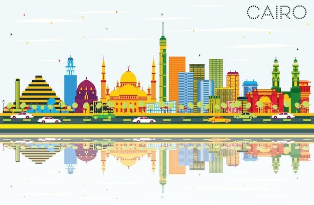 Cairo egito skyline com edifícios de cor, céu azul e reflexos. viagem de negócios e conceito de turismo com edifícios históricos. paisagem urbana do cairo com pontos de referência.