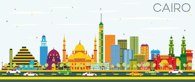 Cairo egito skyline com edifícios de cor e céu azul. viagem de negócios e conceito de turismo com edifícios históricos. paisagem urbana do cairo com pontos de referência.