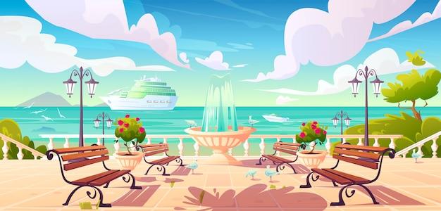 Cais à beira-mar de verão com navio de cruzeiro no oceano