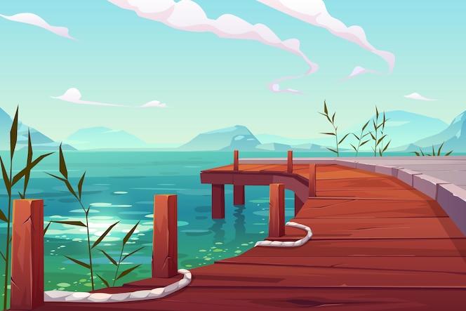 Cais de madeira com cordas na ilustração de paisagem natural do rio
