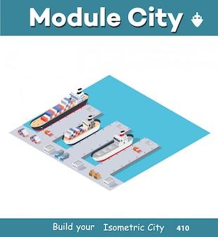 Cais industrial cidade isométrica