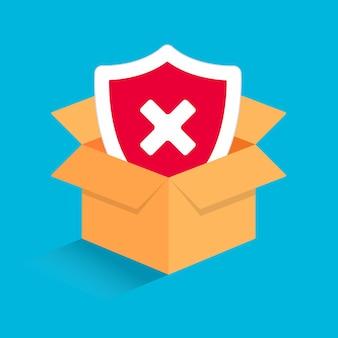 Caixa 3d aberta com marca de seleção no escudo na ilustração vetorial de caixa