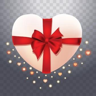 Caixa 3d em forma de coração vermelho e branco realista isolada