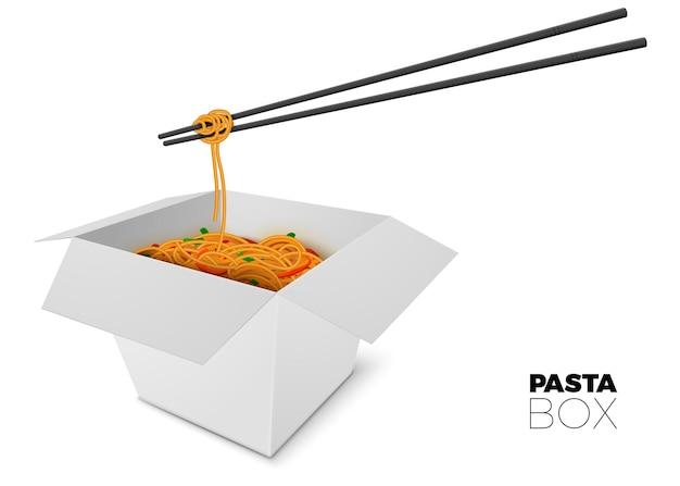 Caixa aberta 3d realista com macarrão e palitos no fundo branco