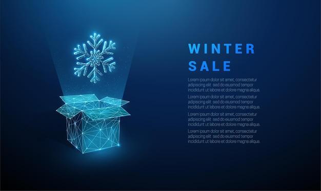 Caixa aberta abstrata e floco de neve.