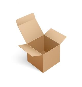 Caixa aberta de forma quadrada em 3d isométrico