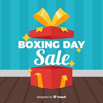 Caixa aberta de fundo de venda de dia de boxe