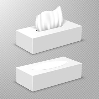Caixa aberta e fechada com guardanapos de papel branco