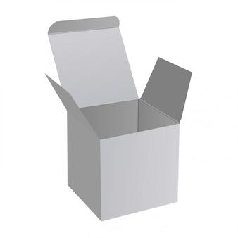 Caixa aberta, maquete de papel quadrado 3d, surpresa de presente