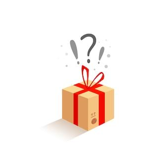 Caixa bege do presente da celebração do aniversário com uma surpresa. esperando por alegria